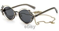 Jimmy Choo SHINE/S Black Gold Grey Lens 58/16/140 Good Chain Women Sunglasses