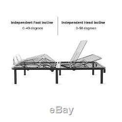 LUCID Steel Frame Adjustable Bed Base with Head/Foot Incline 5 Minute Assembly
