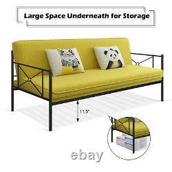 Metal Daybed Frame Twin Size Multifunctional Platform Bed Home Steel Slats