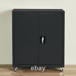 Metal Storage Cabinet Steel Storage File Cabinet Adjustable Shelf Locking Wheels
