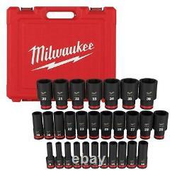 Milwaukee 6 Point Impact Socket Set 1/2 Inch Drive Metric Hand Tool Case 29 pcs
