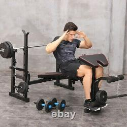 NEW Weight Bench Set Adjustable Home Gym Press Lifting Barbell Exercise Workout