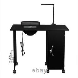 New Vented Salon Manicure Nail Table Desk Steel Frame Lockable With LED Light US