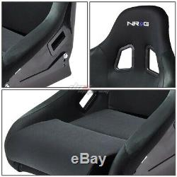 Nrg Black Canvas Fiber Glass/steel Bucket Racing Seat+adjuster Mounting Bracket