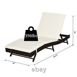 Outsunny Adjustable Pool Rattan Chaise Lounge Chair Patio Wicker Sofa With Cushion