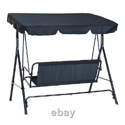 Porch Swing Hammock Bench Lounge Chair Steel 3-seat Padded Outdoor withCanopy