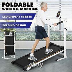 Portable Folding Manual Treadmill Walking Machine Cardio Gym Adjustable Incline