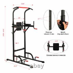 Power Tower Pull Up Bar Dip Station Adjustable Height Home Gym Workout Equipment