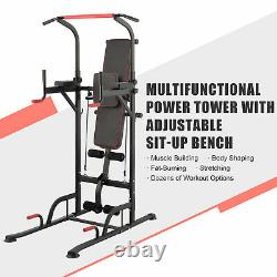 Power Tower Pull Up Bar Dip Station with Sit Up Bench Home Gym Workout Equipment