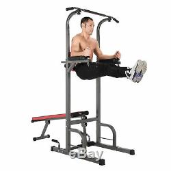 Power Tower Pull Up Bar Dip Station with Sit Up Bench Indoor Home Gym Fitness