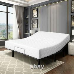 Queen Adjustable Design Bed Base Steel Frame WithCover Remote Motorized Head&Foot
