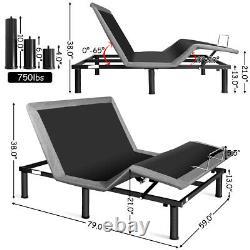 Queen Size Bed Base Steel Frame Bedroom Remote Motorized Head &Foot Adjustable