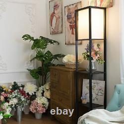 Set Of 2 Modern Wood Shelf Floor Lamp Linen Shade Storage Light Home Living Room