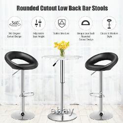 Set of 2 Bar Stools Adjustable PU Leather Barstools Swivel Pub Chairs Black New