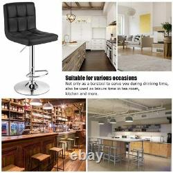 Set of 2 Bar Stools Swivel Adjustable Chairs Counter Height PU Leather Kitchen