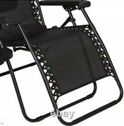 Set of 2 Garden Sun Lounger Recliner Zero Gravity Chair Adjustable Visor canopy