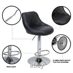 Set of 2 PU Leather Adjustable Height Swivel Bar Stool Pub Chair Black US