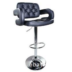 Set of 2 PU Leather Swivel Bar Stools Hydraulic Pub Chair Adjustable Black Hot