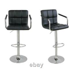 Set of 2 Swivel Bar Stool Leather Modern Adjustable Hydraulic Barstool withArmrest