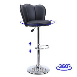 Set of 4 Bar Stools Pub Kitchen Chair Counter Height Leather Swivel Adjustable