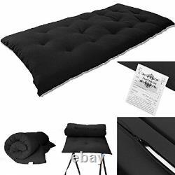 Solid Black Japanese Tatami Mat Floor Mattresses Rolling Bed 3Tx27Wx80L