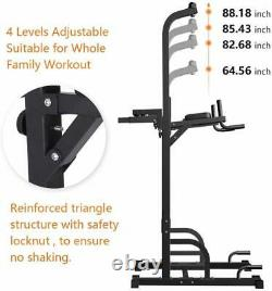 Sportsroyal Pull Up Bar Power Tower Adjustable Height f Indoor Home Gym Fitness