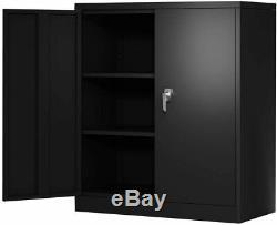 Steel Cabinet 3 Shelves Metal Storage Cabinet 2 Adjustable Shelves with Lock