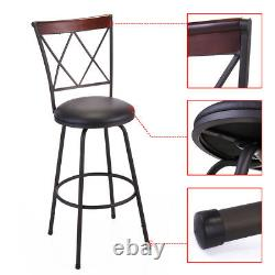 Swivel Bar Stools 3 Adjustable Height Kitchen Chairs Set Counter Tall Black NEW