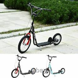 Teens Youth Kick Scooter Height Adjustable Inflatable Tires Ride On Toy For 5+