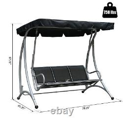 Three Person Steel Outdoor Porch Swing Chair Bench with Canopy Cover Black