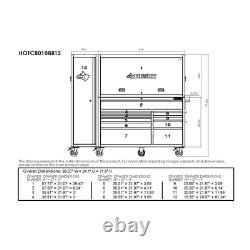 Tool Chest Work Bench Cabinet Sliding Lid Lit Top 80 in Rolling Garage Storage