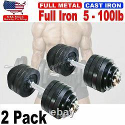 Total 100lb Dumbbells 2 Pack 50lb Full Metal Iron Adjustable Weights Dumbbells
