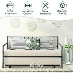 Twin Trundle DayBed with 4 Casters Mattress Platform Bed Sofa DayBed Living Room