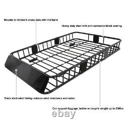 Universal Car 64'' Black Steel Extension Roof Rack Top Luggage Carrier Basket