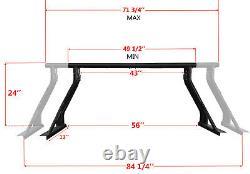 Universal Extendable Roll Bar for Pickup Truck Sport Bar Double Rack Matte Black