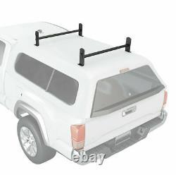 Universal Pickup Truck Cap Topper 2 Bar Ladder Roof Van Rack Adjustable Steel