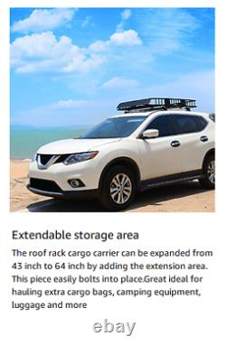 Universal Roof Rack Cargo Basket Car SUV Carrier Luggage Holder Travel Two Size