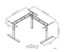 VIVO Black Electric Motor Height Adjustable Corner 3 Leg Standing Desk Frame