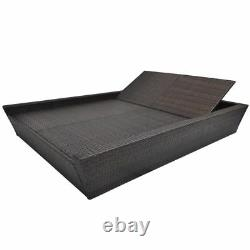 VidaXL Double Sunlounger Rattan Wicker Garden Patio Daybed Lounge Bed 2 Colors