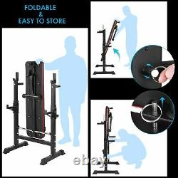 Weight Bench Press With Barbell Squat Rack Adjustable Fitness Gym Training Set
