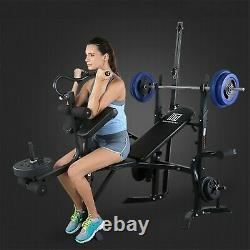 Weight Bench Set Adjustable Home Gym Press Lifting Barbell Exercise Workout 440