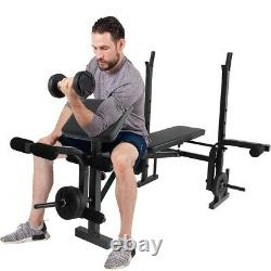 Weight Bench Set Adjustable Home Gym Press Lifting Barbell Exercise Workout BK