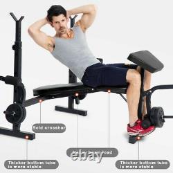 Weight Bench Set Multifunctional Bench Press Bar Rack Adjustable Workout Bench H