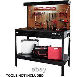 Work bench Tools Storage Shelf with LIGHTS Workbench Garage Workshop Table NEW